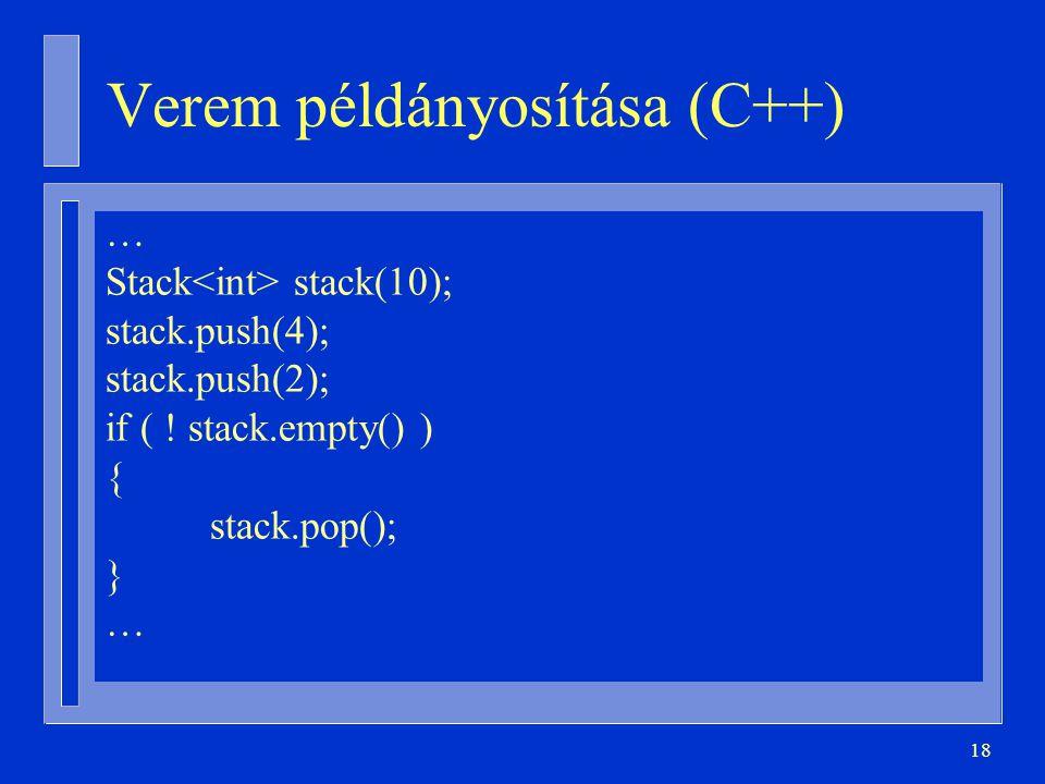 Verem példányosítása (C++)