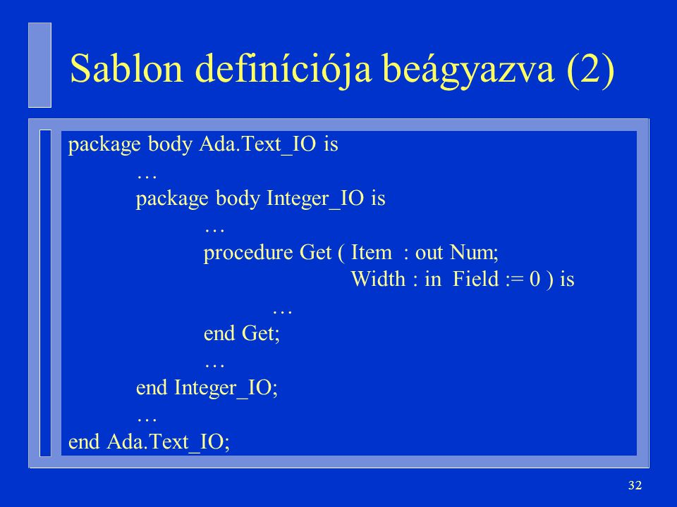 Sablon definíciója beágyazva (2)