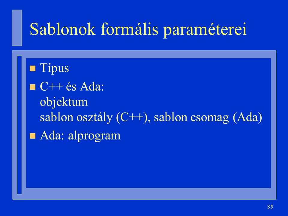Sablonok formális paraméterei