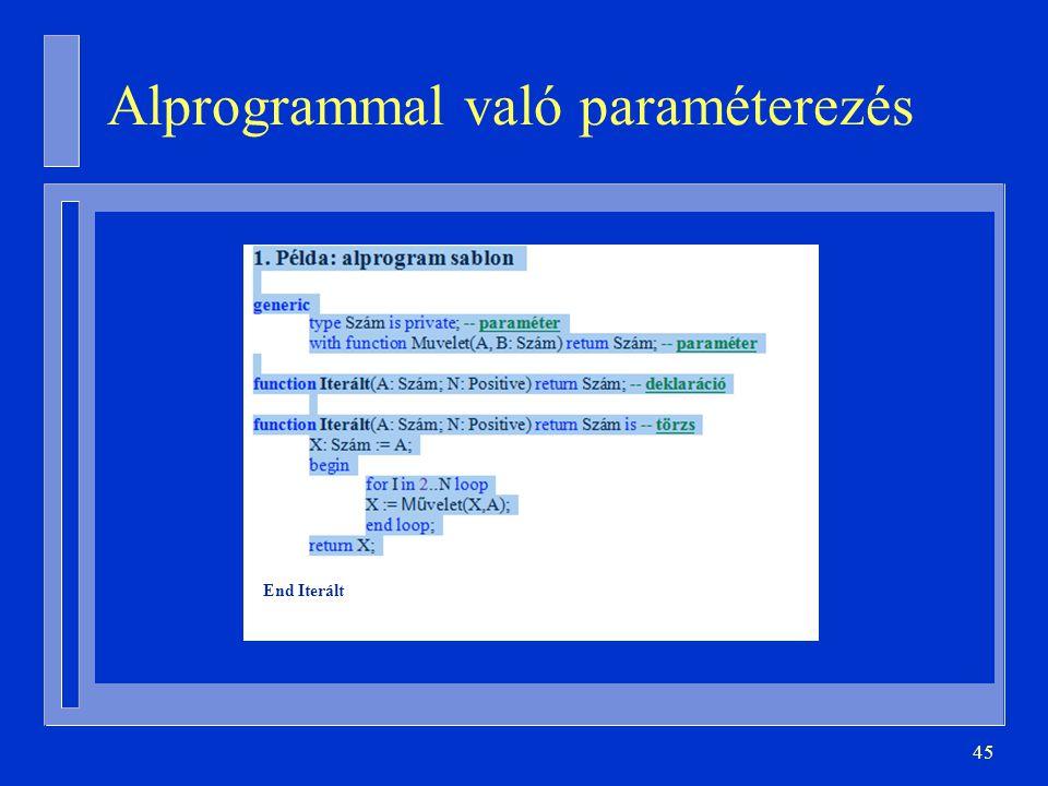 Alprogrammal való paraméterezés