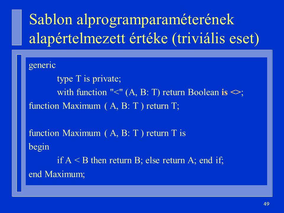 Sablon alprogramparaméterének alapértelmezett értéke (triviális eset)