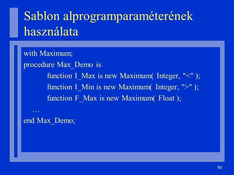 Sablon alprogramparaméterének használata
