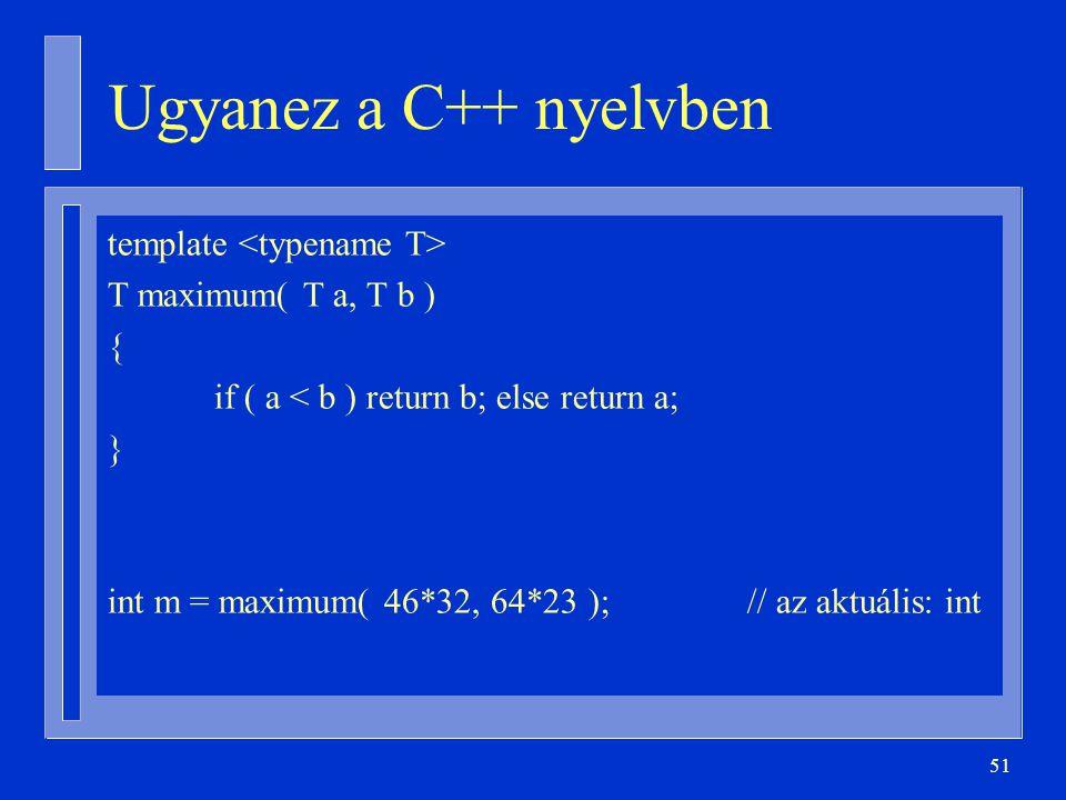 Ugyanez a C++ nyelvben template <typename T>