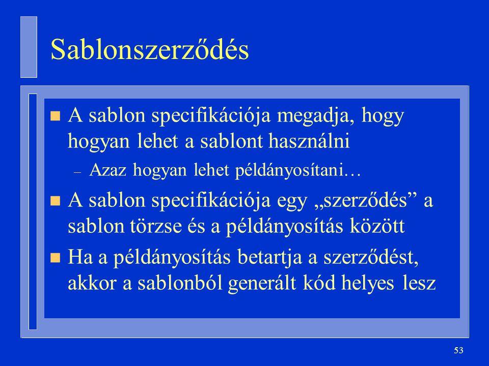 Sablonszerződés A sablon specifikációja megadja, hogy hogyan lehet a sablont használni. Azaz hogyan lehet példányosítani…