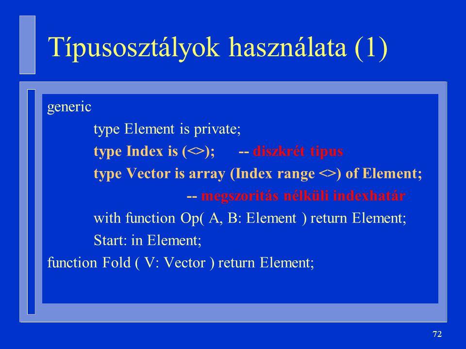 Típusosztályok használata (1)