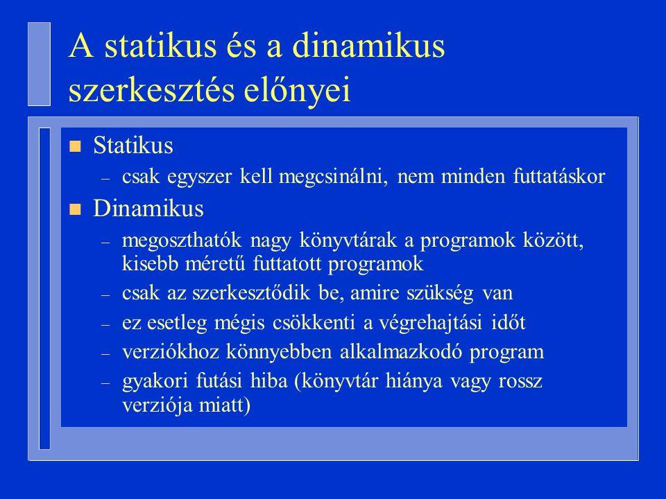 A statikus és a dinamikus szerkesztés előnyei