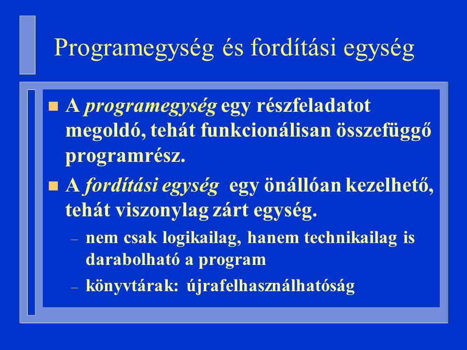 Programegység és fordítási egység