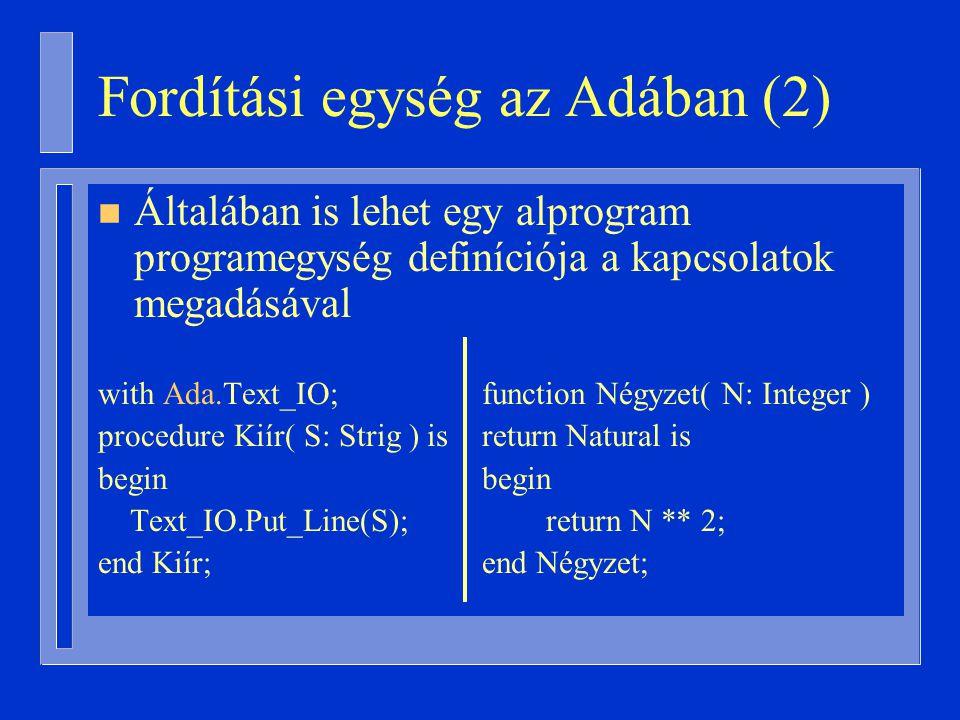 Fordítási egység az Adában (2)