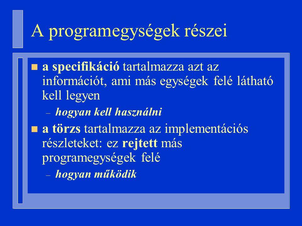 A programegységek részei