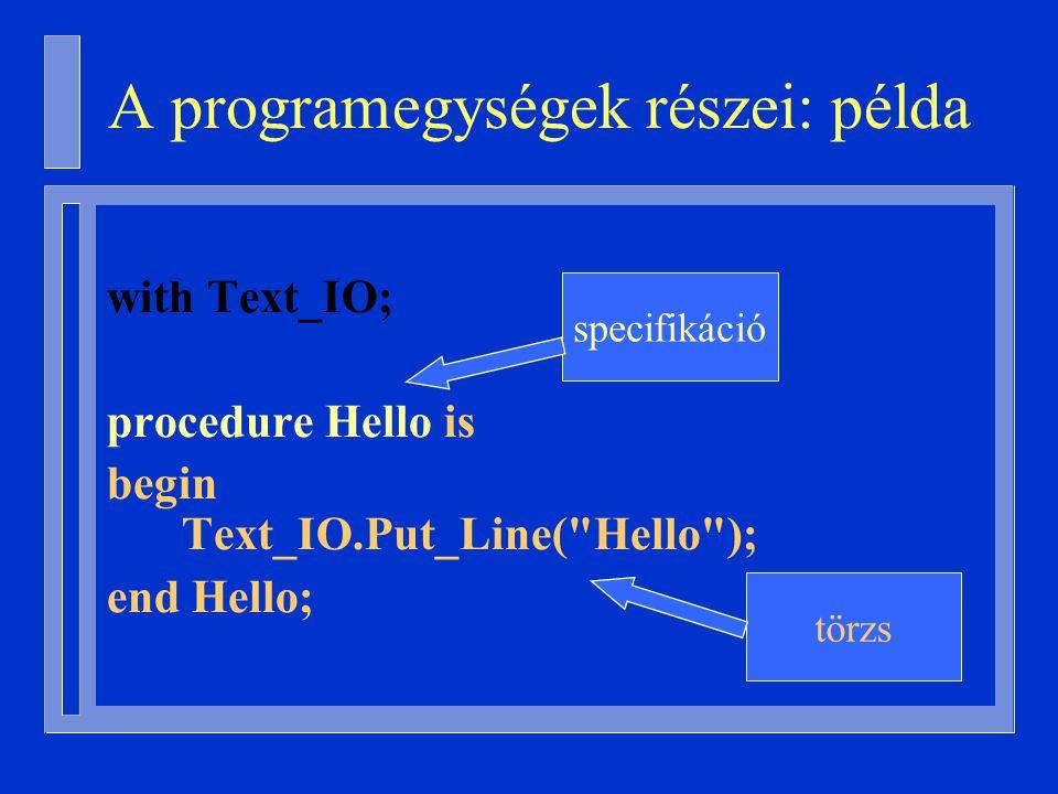 A programegységek részei: példa