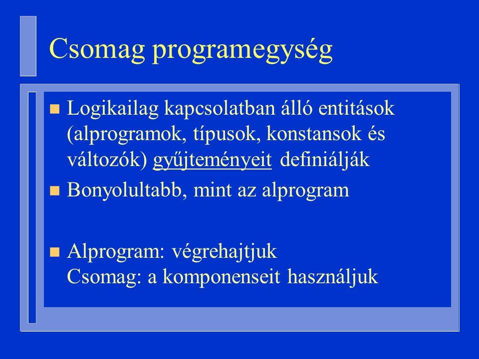 Csomag programegység Logikailag kapcsolatban álló entitások (alprogramok, típusok, konstansok és változók) gyűjteményeit definiálják.