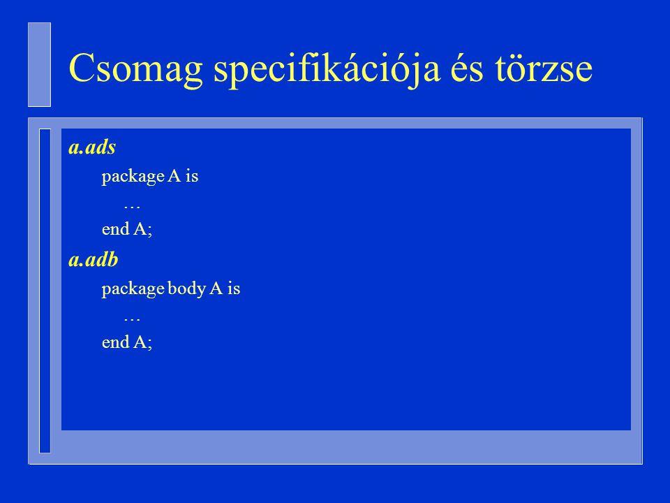 Csomag specifikációja és törzse