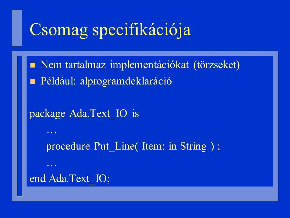 Csomag specifikációja