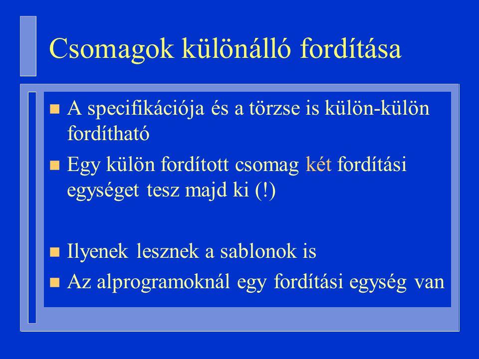Csomagok különálló fordítása
