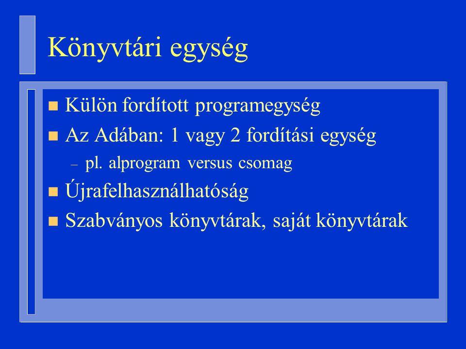 Könyvtári egység Külön fordított programegység
