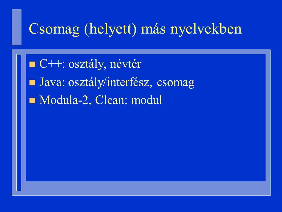 Csomag (helyett) más nyelvekben