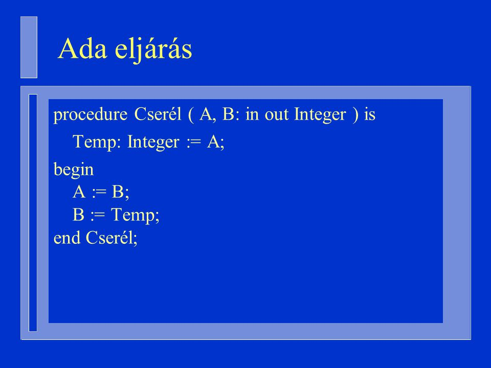Ada eljárás procedure Cserél ( A, B: in out Integer ) is