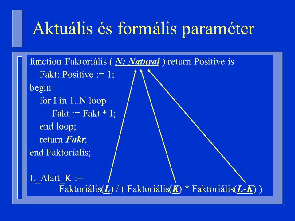 Aktuális és formális paraméter