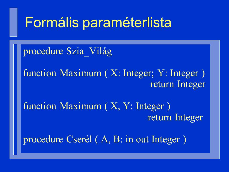 Formális paraméterlista