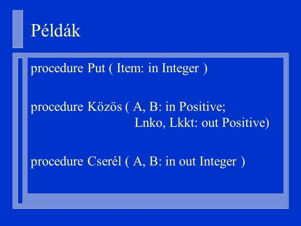 Példák procedure Put ( Item: in Integer )