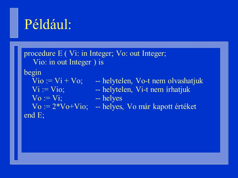 Például: procedure E ( Vi: in Integer; Vo: out Integer; Vio: in out Integer ) is. begin.