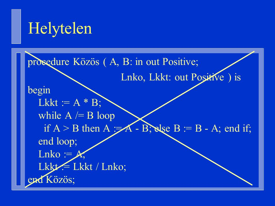 Helytelen procedure Közös ( A, B: in out Positive;