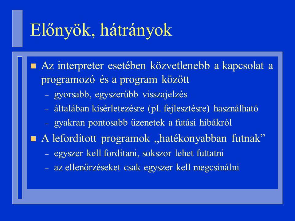 Előnyök, hátrányok Az interpreter esetében közvetlenebb a kapcsolat a programozó és a program között.