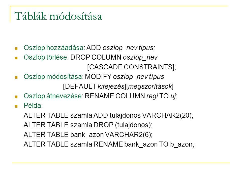 Táblák módosítása Oszlop hozzáadása: ADD oszlop_nev tipus;