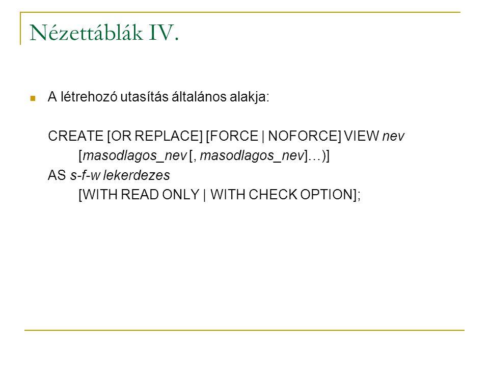 Nézettáblák IV. A létrehozó utasítás általános alakja: