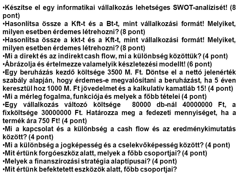Készítse el egy informatikai vállalkozás lehetséges SWOT-analízisét