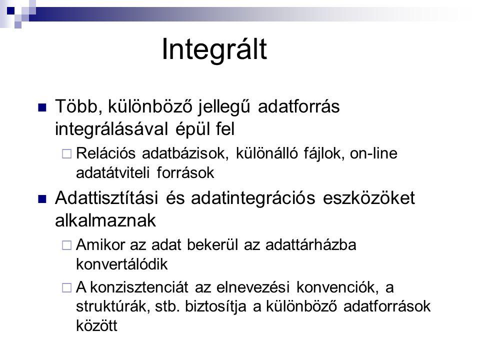 Integrált Több, különböző jellegű adatforrás integrálásával épül fel
