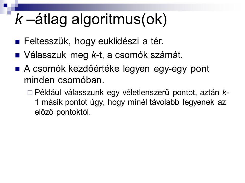 k –átlag algoritmus(ok)