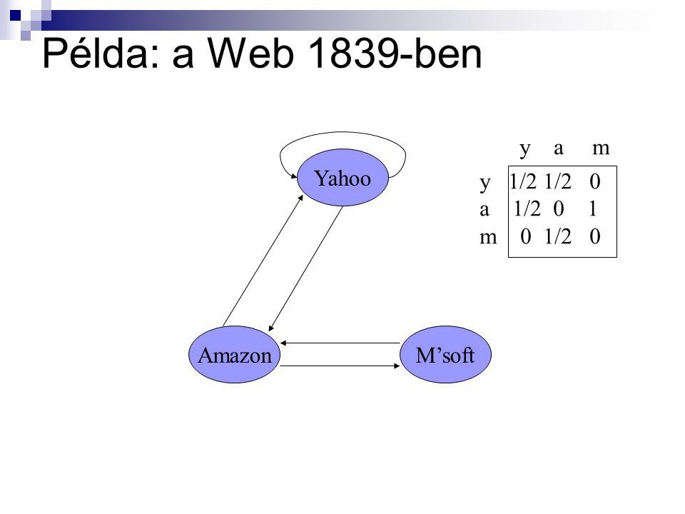 Példa: a Web 1839-ben y a m Yahoo y 1/2 1/2 0 a 1/2 0 1 m 0 1/2 0