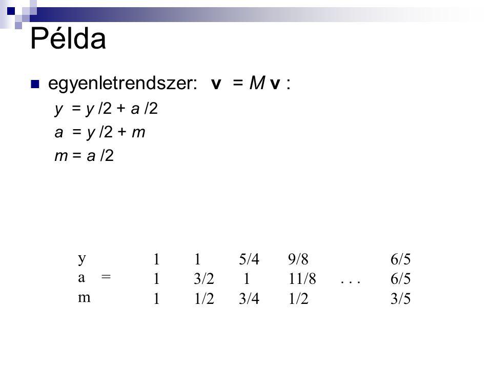 Példa egyenletrendszer: v = M v : y = y /2 + a /2 a = y /2 + m