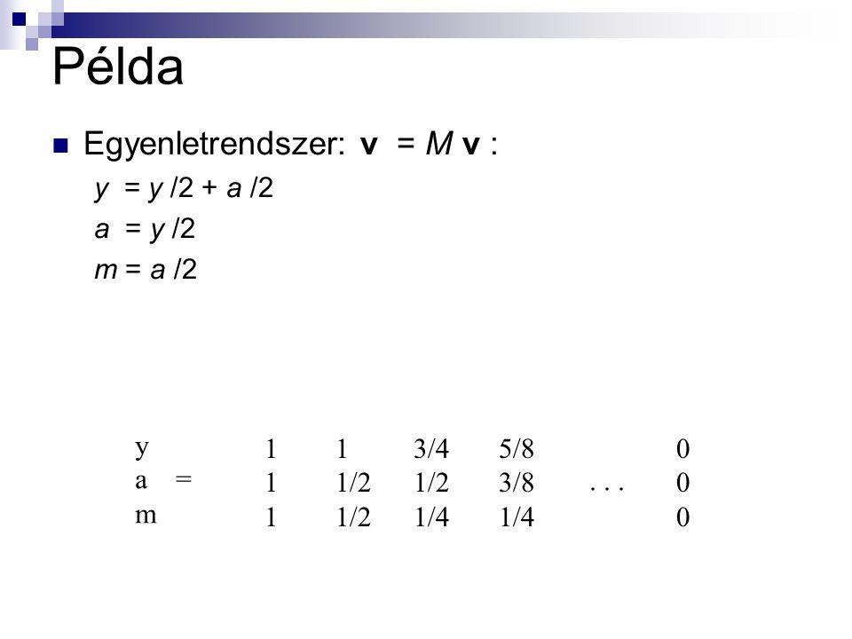 Példa Egyenletrendszer: v = M v : y = y /2 + a /2 a = y /2 m = a /2 y