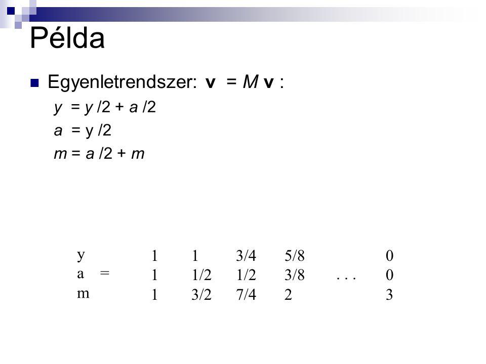 Példa Egyenletrendszer: v = M v : y = y /2 + a /2 a = y /2