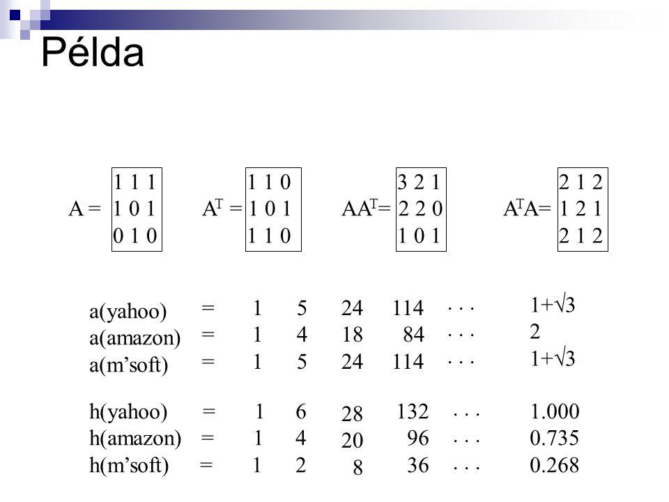 Példa 1 1 1. A = 1 0 1. 0 1 0. 1 1 0. AT = 1 0 1. 3 2 1. AAT= 2 2 0. 1 0 1. 2 1 2. ATA= 1 2 1.