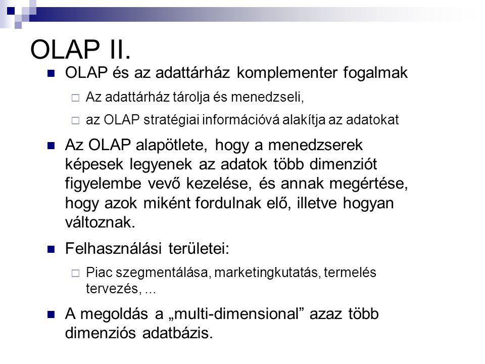 OLAP II. OLAP és az adattárház komplementer fogalmak