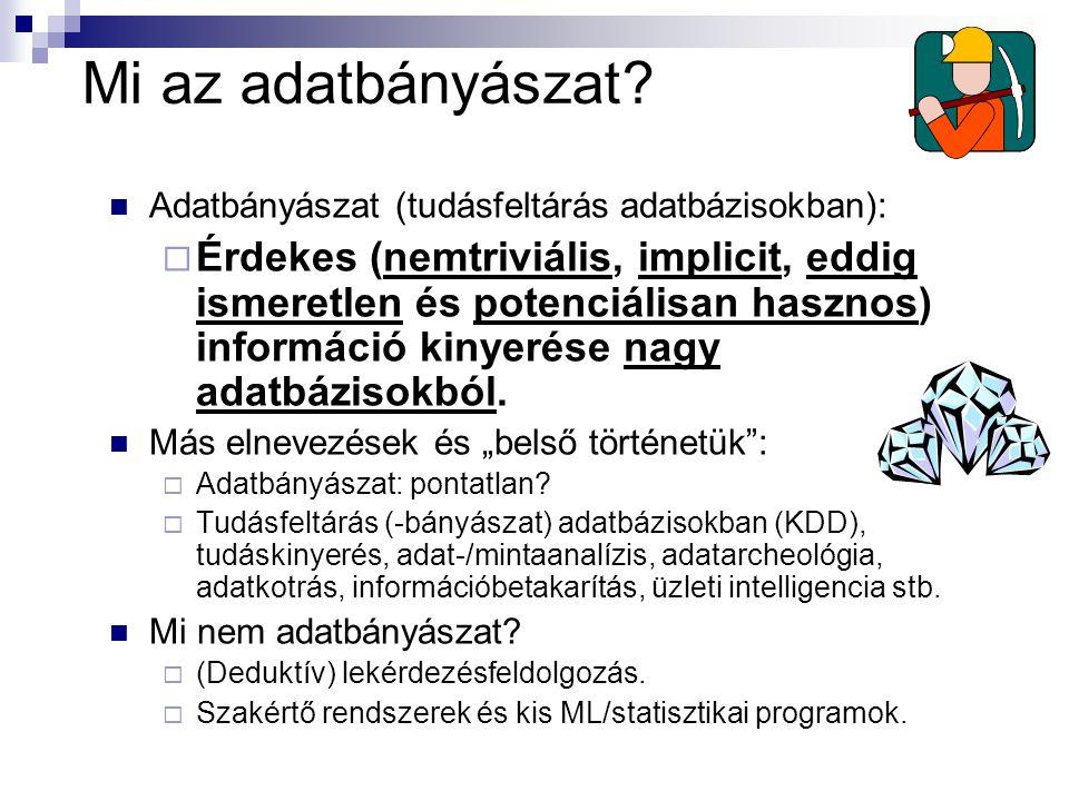 Mi az adatbányászat Adatbányászat (tudásfeltárás adatbázisokban):