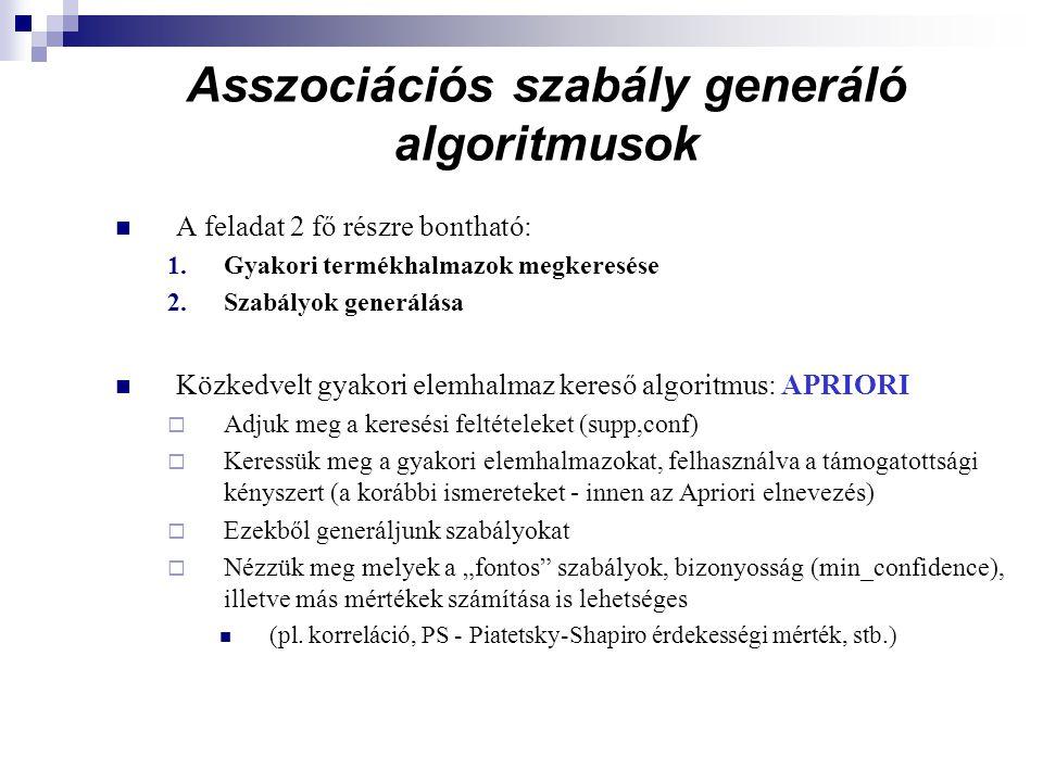 Asszociációs szabály generáló algoritmusok