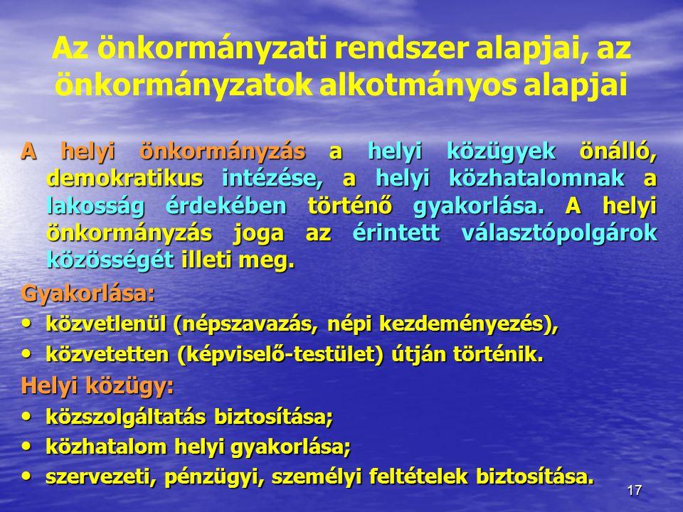 Az önkormányzati rendszer alapjai, az önkormányzatok alkotmányos alapjai