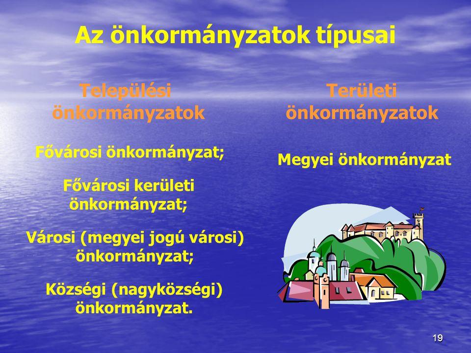 Az önkormányzatok típusai