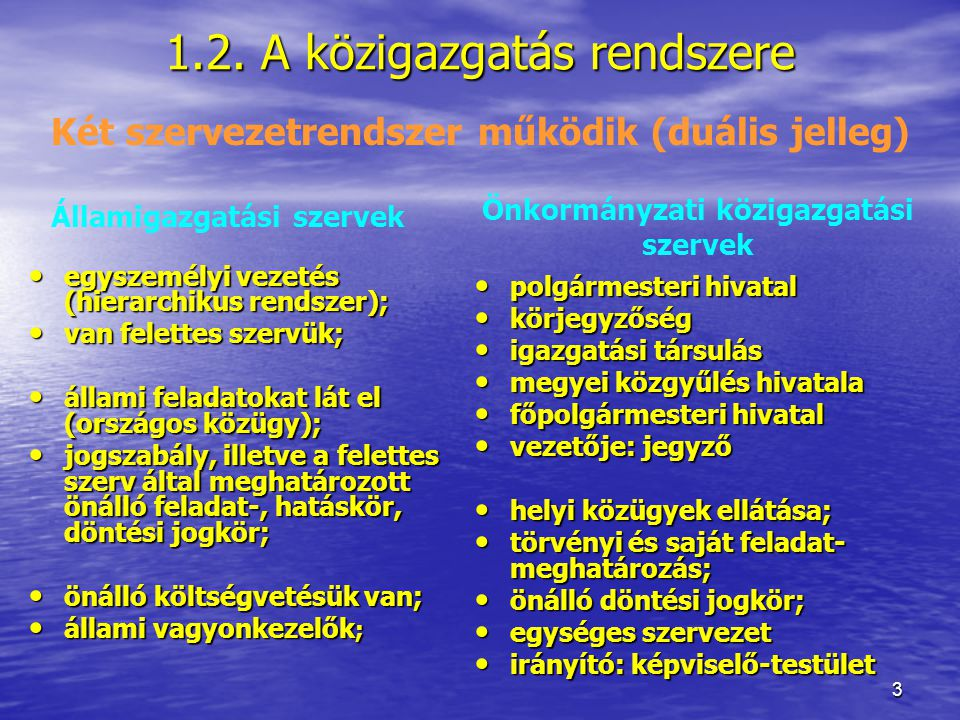 1.2. A közigazgatás rendszere