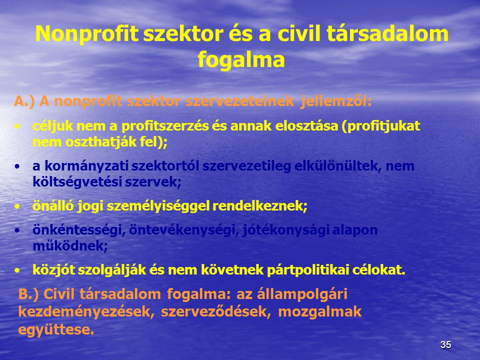 Nonprofit szektor és a civil társadalom fogalma