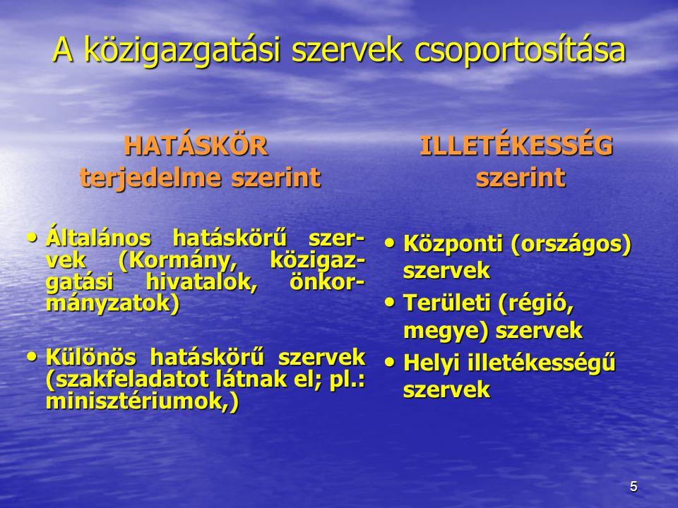 A közigazgatási szervek csoportosítása