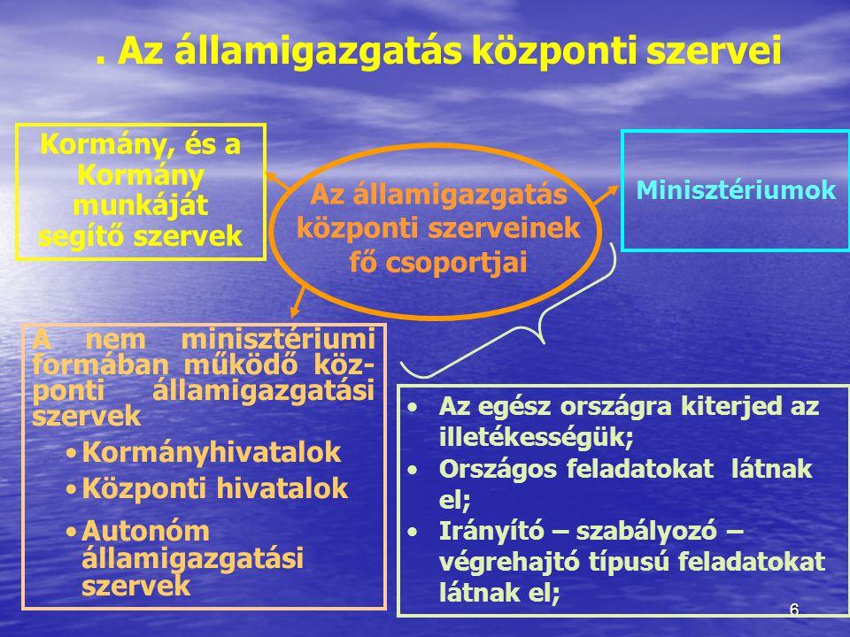 . Az államigazgatás központi szervei