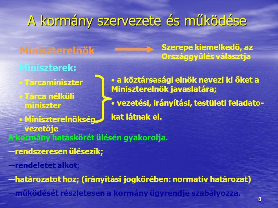 A kormány szervezete és működése
