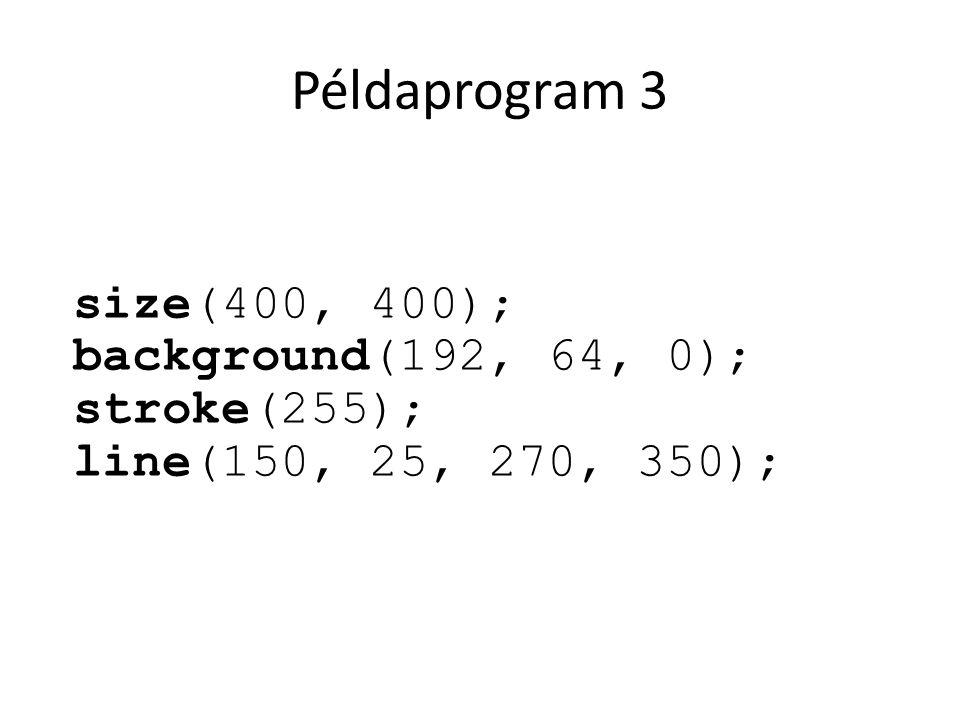 Példaprogram 3 size(400, 400); background(192, 64, 0); stroke(255);