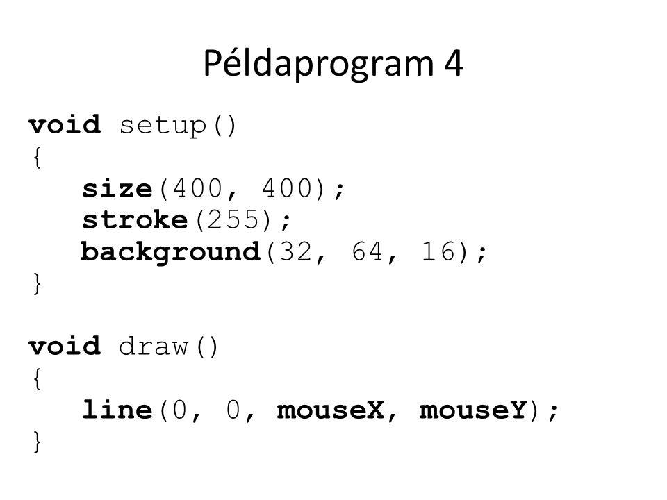 Példaprogram 4 void setup() { size(400, 400); stroke(255);