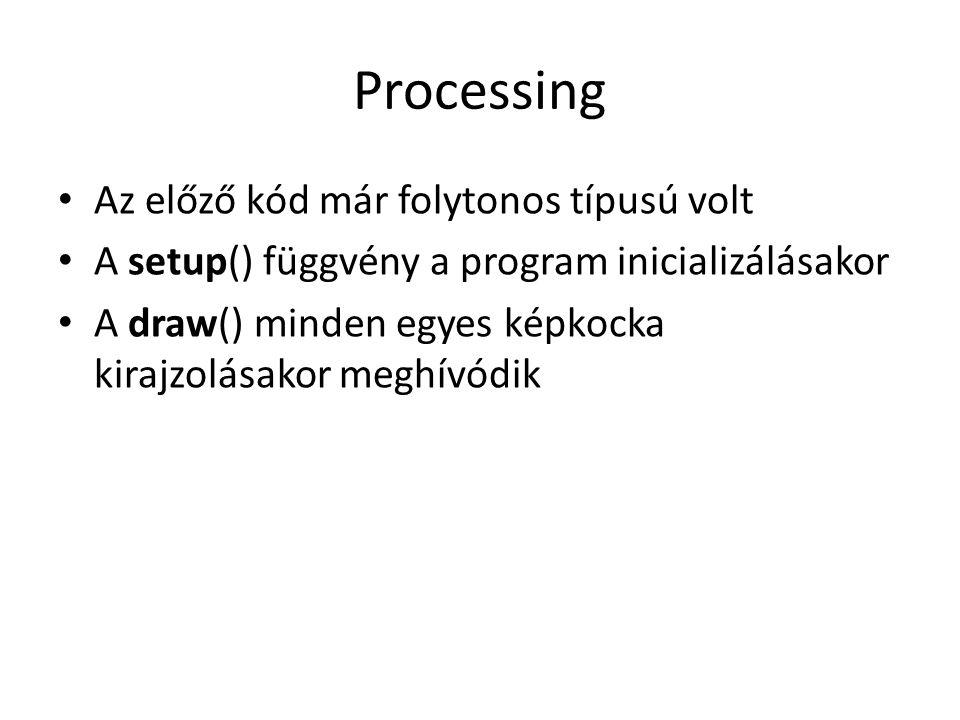 Processing Az előző kód már folytonos típusú volt